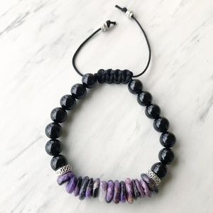 Genuine Purple charoite + onyx adjustable bracelet
